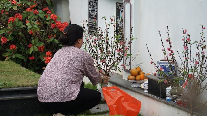 Nhiều gia đình sắm sửa những chậu quất, cành đào Tết dâng tiên tổ.